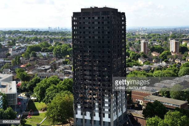 TOPSHOT The remains of Grenfell Tower a residential tower block in west London which was gutted by fire are pictured against the London skyline on...