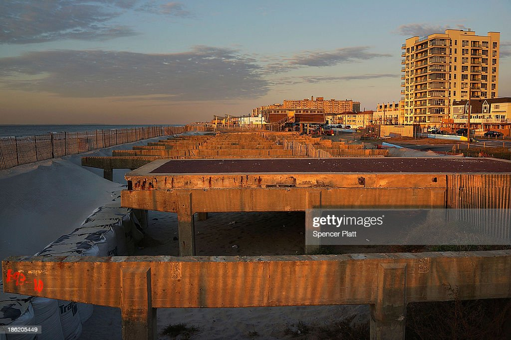 The remains of part of the boardwalk at Rockaway Beach stand on the beach following Hurricane Sandy which destroyed large parts of the boardwalk on...