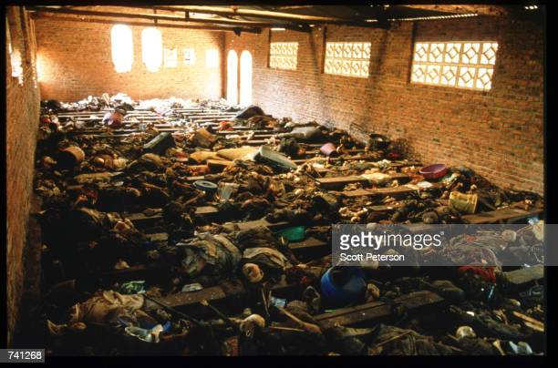The remains of slain Tutsis lie on the floor September 16 1994 at a church in Ntarama Rwanda The bodies of four hundred Tutsis murdered by Hutu...