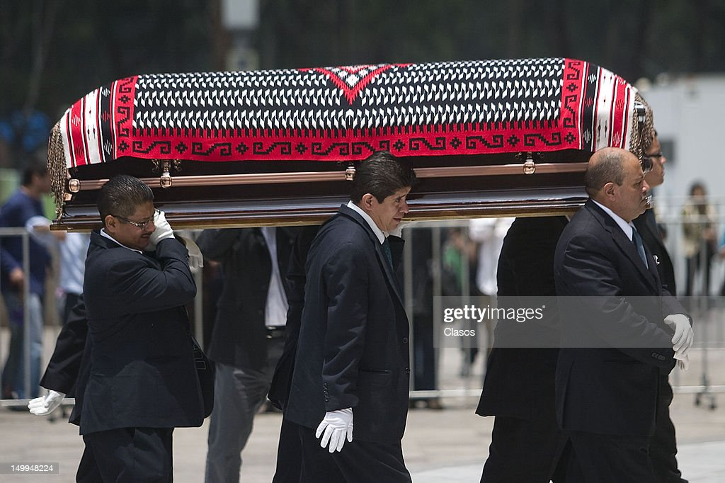 The remains of the Costa Rican singer Chavela Vargas naturalized Mexican arrive at the Palace of Fine Arts on August 07, 2012 in Mexico City, Mexico.