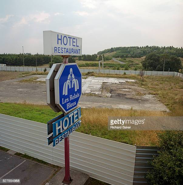 The remains of the former H��telissimo Les Relais Bleus Hotel where the Air France Concorde airliner crashed on 25 July 2000 Now a flattened site it...