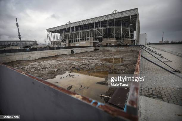 The remains of the practice pool in front of the Olympic Aquatics stadium at the Olympic Park on March 18 2017 in Rio de Janeiro Brazil Seven months...