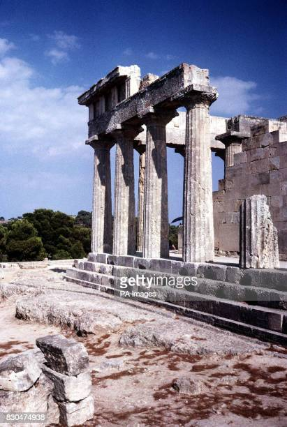 The remains of the temple of Afaia on the island of Aegina part of the ArgoSaronic group of Greek islands The 5th century BC Doric temple slightly...