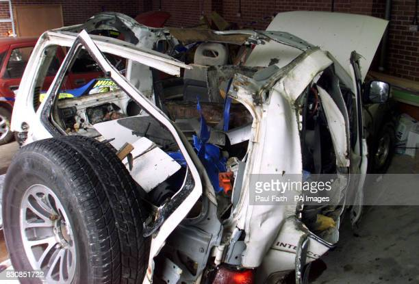The remains of the white Mitsubishi four wheel drive vehicle which partially exploded at the gates of Maghaberry Prison outside Belfast Dissident...