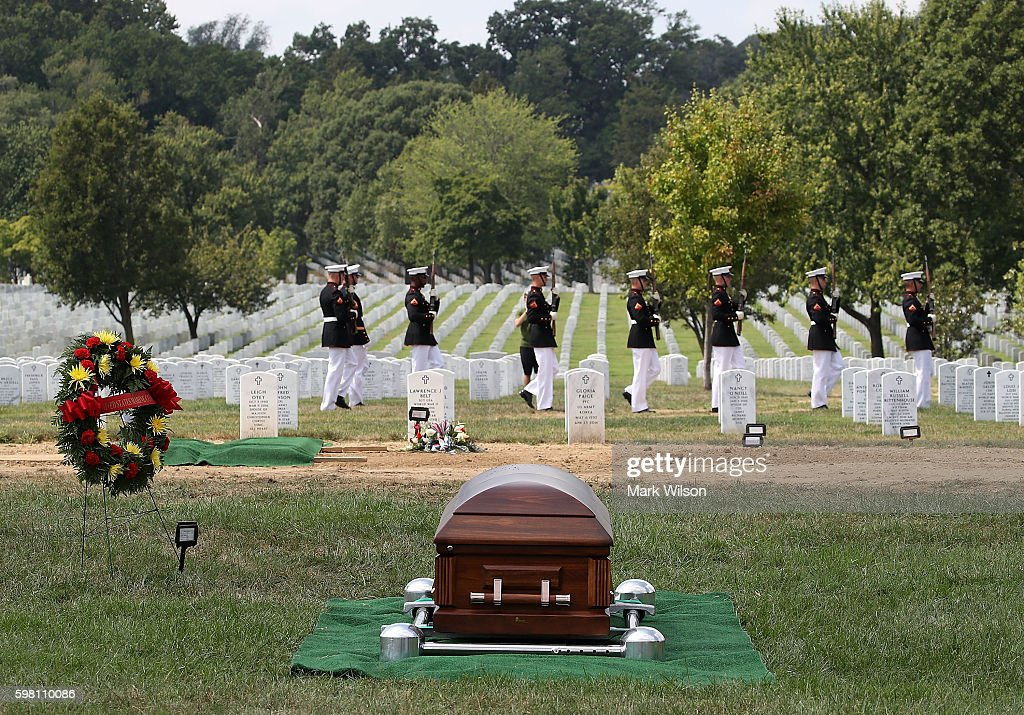 The remains of US Marine PFC Anthony Brozyna of Hartford CT during a full honor burial service at Arlington National Cemetary August 31 2016 in...