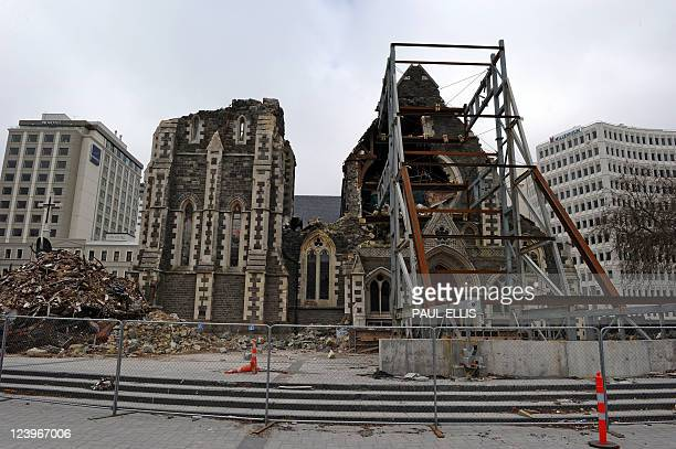 The remains to the badly damaged Christchurch Cathedral are pictured on September 7 2011 during a tour given to foreign journalists visiting the city...
