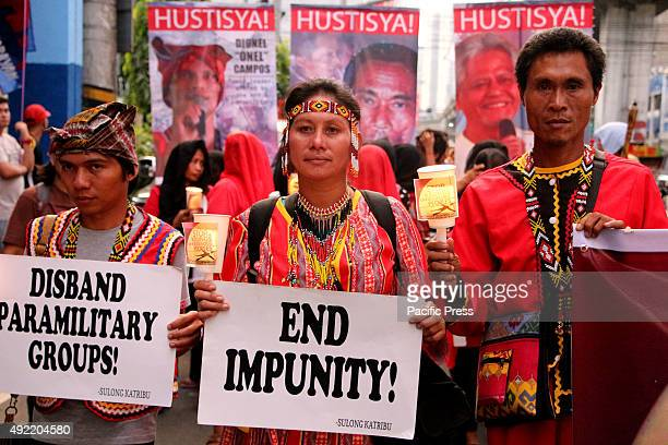 The remembrance of the 40th day of Lianga Surigao Del Sur Massacre of various groups of Lumads by KATRIBU march to Mendiola wearing red and black...