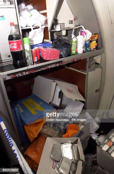The remenants of the food and drink supplied during the hijack inside the galley of the Afghan Airlines Boeing 727