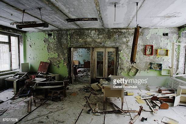 The remnants of an abandoned class room is seen in a preschool in the deserted town of Pripyat on January 25 2006 in Chernobyl Ukraine Prypyat and...