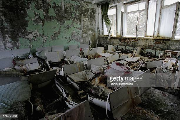 The remnants of beds are seen in an abandoned in a preschool in the deserted town of Pripyat on January 25 2006 in Chernobyl Ukraine Prypyat and the...