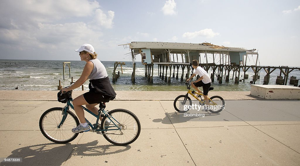 The remnants of Murdock's Souvenir Shop stand on a pier off the shores of Galveston, Texas, U.S., on Saturday, Oct. 11, 2008. Hundreds of thousands of residents throughout the Houston and Galveston region are still assessing damage, some living in motels and shelters while repairs are made, after Hurricane Ike blasted ashore with a storm surge of up to 12 feet last month.