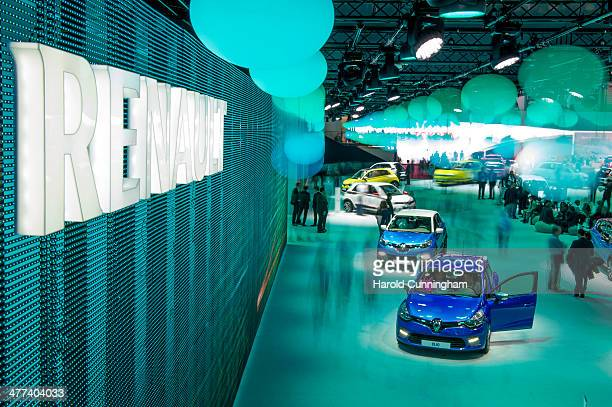 The Renault booth is seen during the press day of the 84th International Motor Show which will showcase novelties of the car industry on March 5 2014...