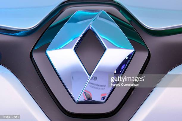 The Renault logo is seen during the 83rd Geneva Motor Show on March 6 2013 in Geneva Switzerland Held annually with more than 130 product premiers...