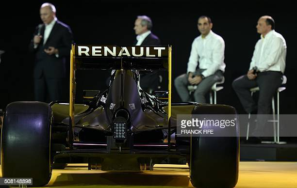 The Renault's RS16 the first F1 car of the French firm in six years is pictured during its official presentation at Renault's technocentre in...