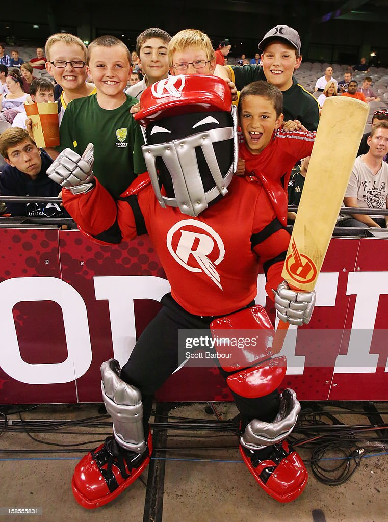 The Renegades mascot poses with fans during the Big Bash League match between the Melbourne Renegades and the Hobart Hurricanes at Etihad Stadium on December 19, 2012 in Melbourne, Australia.