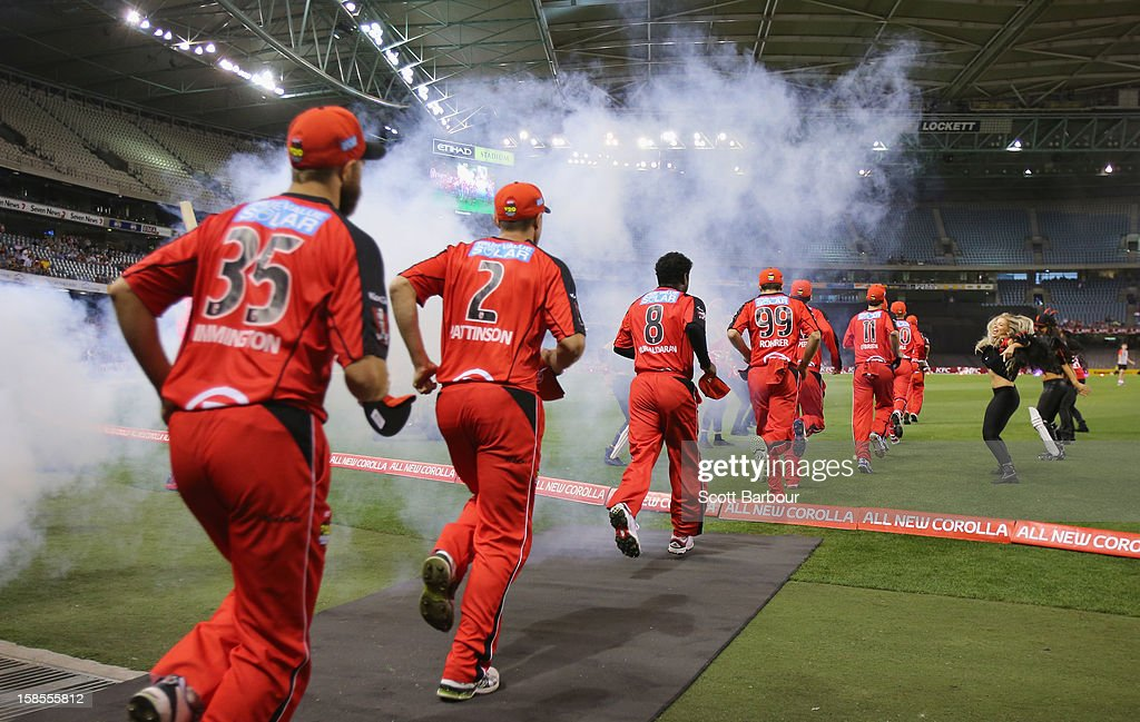 The Renegades run onto the field during the Big Bash League match between the Melbourne Renegades and the Hobart Hurricanes at Etihad Stadium on December 19, 2012 in Melbourne, Australia.