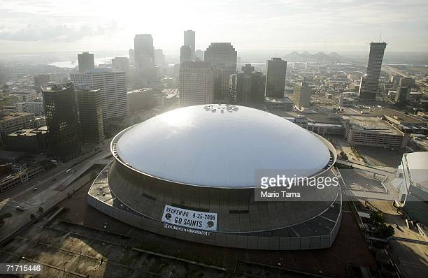 The repaired Louisiana Superdome and city skyline are seen August 25 2006 in New Orleans Louisiana The first anniversary of Hurricane Katrina is...