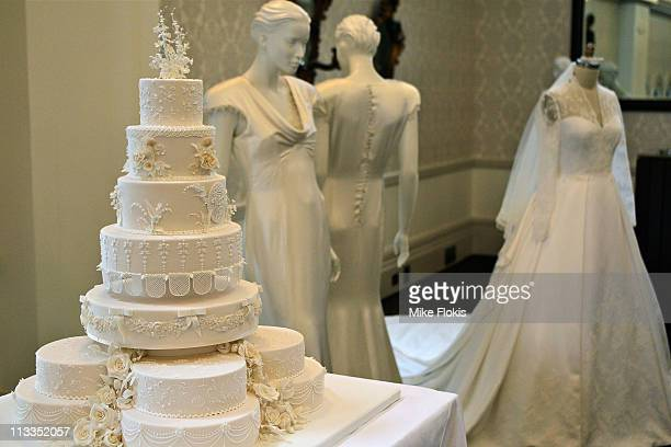 The replica wedding cake and bridesmaid dress displayed at the Queen Victoria Building on May 2 2011 in Sydney Australia Woman's Day Australia...