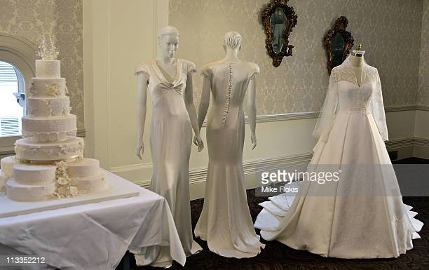 The replica wedding dress worn by Catherine Duchess of Cambridge displayed at the Queen Victoria Building on May 2 2011 in Sydney Australia Woman's...
