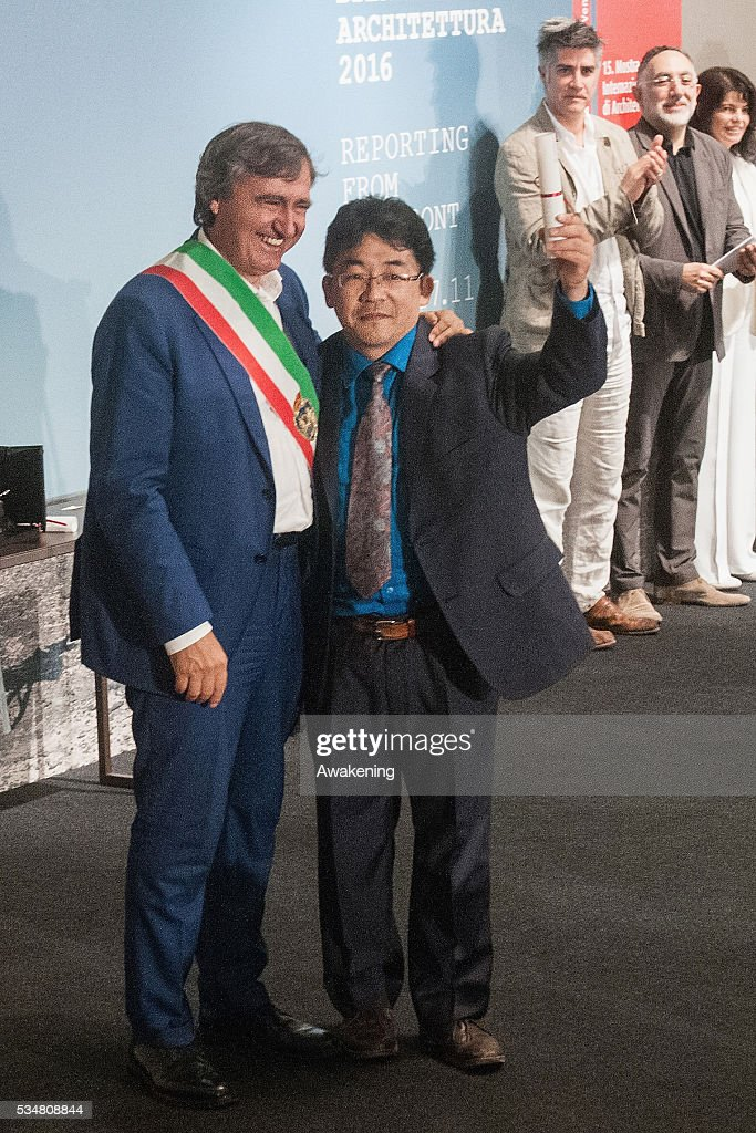 The representative of Japan receives the special mention as the National Participation at the official opening ceremony of the 15th Biennale of Architecture on May 28, 2016 in Venice, Italy. The 15th International Architecture Exhibition of La Biennale di Venezia will be open to the public from May 28 to November 27 in Venice, Italy.