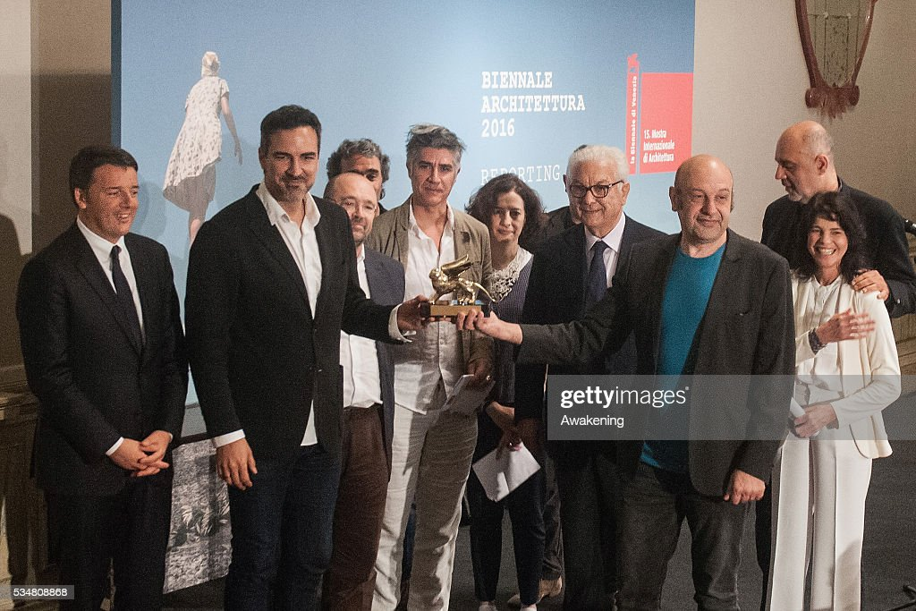 The representative of Spain receives the Golden Lion for Best National Participation at the official opening ceremony of the 15th Biennale of Architecture on May 28, 2016 in Venice, Italy. The 15th International Architecture Exhibition of La Biennale di Venezia will be open to the public from May 28 to November 27 in Venice, Italy.