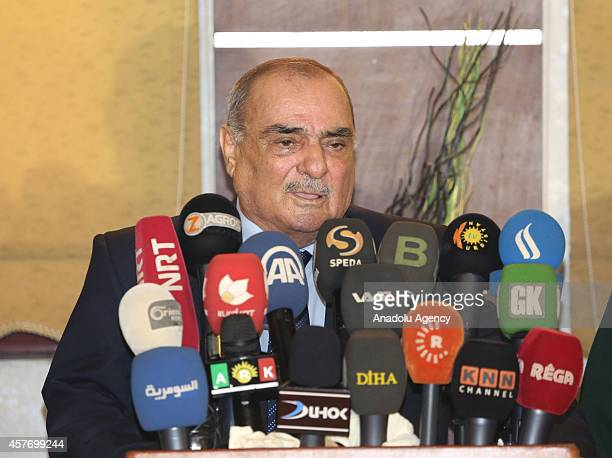 The representative of the Kurdish National Council in Syria Tahir Sfook Syrian Kurdish Democratic National Party leader speaks to press after divided...