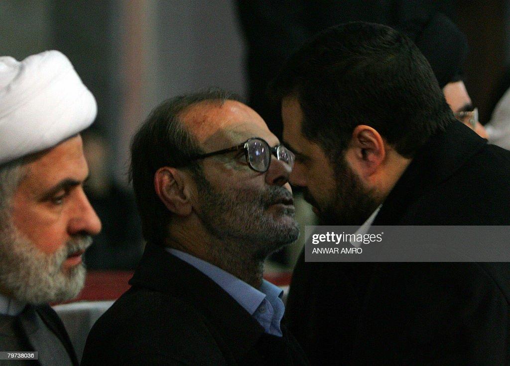The representative of the Palestinian Islamic Hamas movement in Lebanon Osama Hamdan pays his condolences to Fayez the father of Imad Mughnieh who...