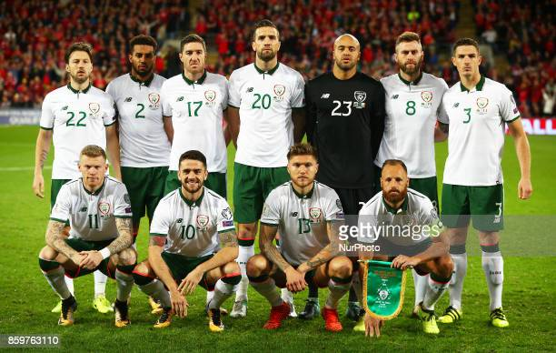 The Republic of Ireland pre match Team photo Back Row Harry ArterCyrus Christie Stephen Ward Shane Duffy Darren Randolph Daryl Murphy and Ciaran...