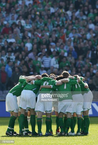 The Republic of Ireland team before the Euro2008 Group D Qualifier between the Republic of Ireland and Wales at the Croke Park Stadium on March 24...