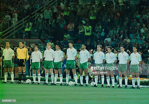 The Republic of Ireland team before their 1990 FIFA World Cup quarterfinal match against Italy at the Stadio Olimpico in Rome 30th June 1990 Left to...
