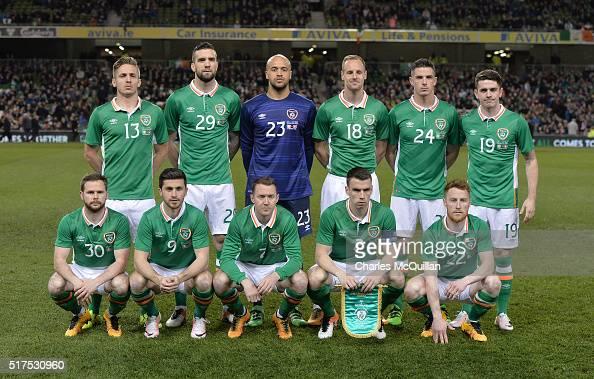 The Republic of Ireland team line up before the international friendly match between the Republic of Ireland and Switzerland at Aviva Stadium on...