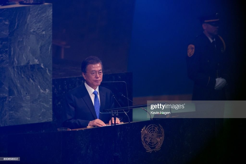 The Republic of Korea's President Moon Jae-in addresses the U.N. General Assembly at the United Nations on September 21, 2017 in New York, New York. Topics to be discussed at this year's gathering include Iran, North Korea and global warming.