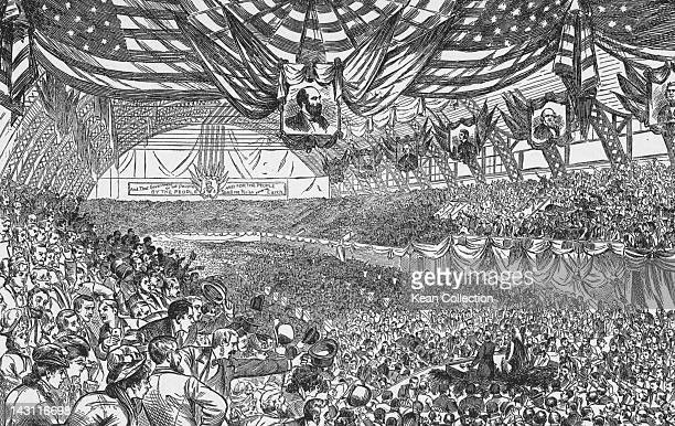 The Republican National Convention taking place at the Exposition Hall Chicago 3rd6th June 1884 The event resulted in the nomination of James G...