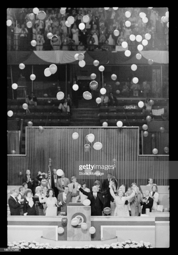 The Republican nominees for the White House celebrate at the Republican National Convention in Kemper Arena, Kansas City, Missouri, August 19, 1976. Pictured are, front row from third left, (future politician) Elizabeth Dole, her husband, politician (and Vice Presidential nominee) Bob Dole, politician and US President Gerald Ford (1913 - 2006), and his wife, US First Lady Betty Ford (1918 - 2011).