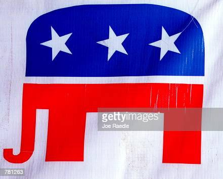 The Republican Party's elephant symbol is seen on display October 24 2000 at the Republican campaign headquarters in El Paso Texas