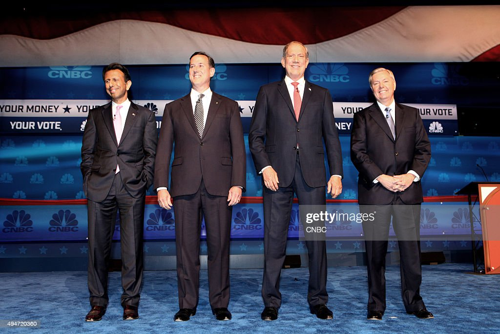 EVENTS -- The Republican Presidential Debate: Your Money, Your Vote -- Pictured: (l-r) <a gi-track='captionPersonalityLinkClicked' href=/galleries/search?phrase=Bobby+Jindal&family=editorial&specificpeople=2249969 ng-click='$event.stopPropagation()'>Bobby Jindal</a>, <a gi-track='captionPersonalityLinkClicked' href=/galleries/search?phrase=Rick+Santorum&family=editorial&specificpeople=212911 ng-click='$event.stopPropagation()'>Rick Santorum</a>, <a gi-track='captionPersonalityLinkClicked' href=/galleries/search?phrase=George+Pataki&family=editorial&specificpeople=202813 ng-click='$event.stopPropagation()'>George Pataki</a>, and <a gi-track='captionPersonalityLinkClicked' href=/galleries/search?phrase=Lindsey+Graham&family=editorial&specificpeople=240214 ng-click='$event.stopPropagation()'>Lindsey Graham</a> participate in CNBC's 'Your Money, Your Vote: The Republican Presidential Debate' live from the University of Colorado Boulder in Boulder, Colorado Wednesday, October 28th at 6PM