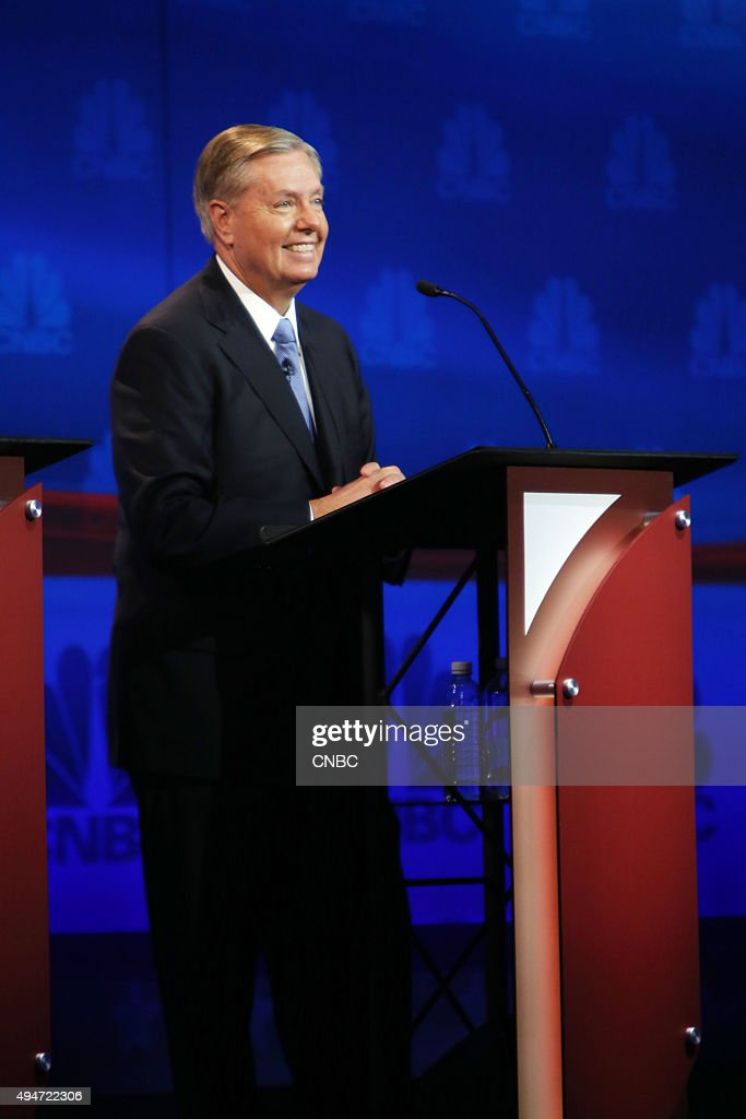 EVENTS -- The Republican Presidential Debate: Your Money, Your Vote -- Pictured: <a gi-track='captionPersonalityLinkClicked' href=/galleries/search?phrase=Lindsey+Graham&family=editorial&specificpeople=240214 ng-click='$event.stopPropagation()'>Lindsey Graham</a> participates in CNBC's 'Your Money, Your Vote: The Republican Presidential Debate' live from the University of Colorado Boulder in Boulder, Colorado Wednesday, October 28th at 6PM ET / 8PM ET --