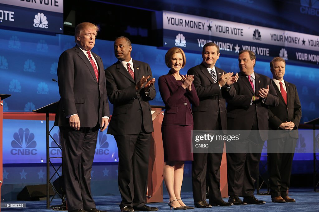 EVENTS -- The Republican Presidential Debate: Your Money, Your Vote -- Pictured: (l-r) <a gi-track='captionPersonalityLinkClicked' href=/galleries/search?phrase=Donald+Trump+-+Born+1946&family=editorial&specificpeople=118600 ng-click='$event.stopPropagation()'>Donald Trump</a>, <a gi-track='captionPersonalityLinkClicked' href=/galleries/search?phrase=Ben+Carson&family=editorial&specificpeople=3233819 ng-click='$event.stopPropagation()'>Ben Carson</a>, <a gi-track='captionPersonalityLinkClicked' href=/galleries/search?phrase=Carly+Fiorina&family=editorial&specificpeople=207075 ng-click='$event.stopPropagation()'>Carly Fiorina</a>, <a gi-track='captionPersonalityLinkClicked' href=/galleries/search?phrase=Ted+Cruz&family=editorial&specificpeople=7222093 ng-click='$event.stopPropagation()'>Ted Cruz</a>, <a gi-track='captionPersonalityLinkClicked' href=/galleries/search?phrase=Chris+Christie&family=editorial&specificpeople=6480114 ng-click='$event.stopPropagation()'>Chris Christie</a>, and <a gi-track='captionPersonalityLinkClicked' href=/galleries/search?phrase=Rand+Paul&family=editorial&specificpeople=6939188 ng-click='$event.stopPropagation()'>Rand Paul</a> participate in CNBC's 'Your Money, Your Vote: The Republican Presidential Debate' live from the University of Colorado Boulder in Boulder, Colorado Wednesday, October 28th at 6PM ET / 8PM ET --