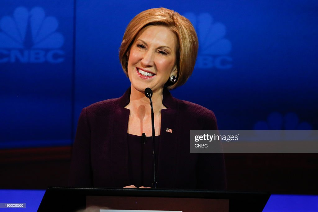 EVENTS -- The Republican Presidential Debate: Your Money, Your Vote -- Pictured: Carly Fiorina participates in CNBC's 'Your Money, Your Vote: The Republican Presidential Debate' live from the University of Colorado Boulder in Boulder, Colorado Wednesday, October 28th at 6PM