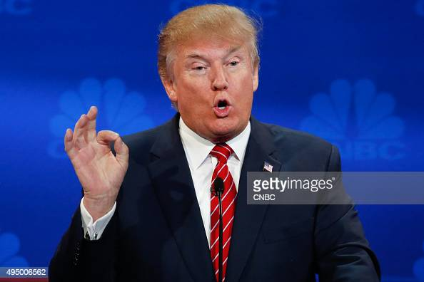 EVENTS The Republican Presidential Debate Your Money Your Vote Pictured Donald Trump participates in CNBC's 'Your Money Your Vote The Republican...