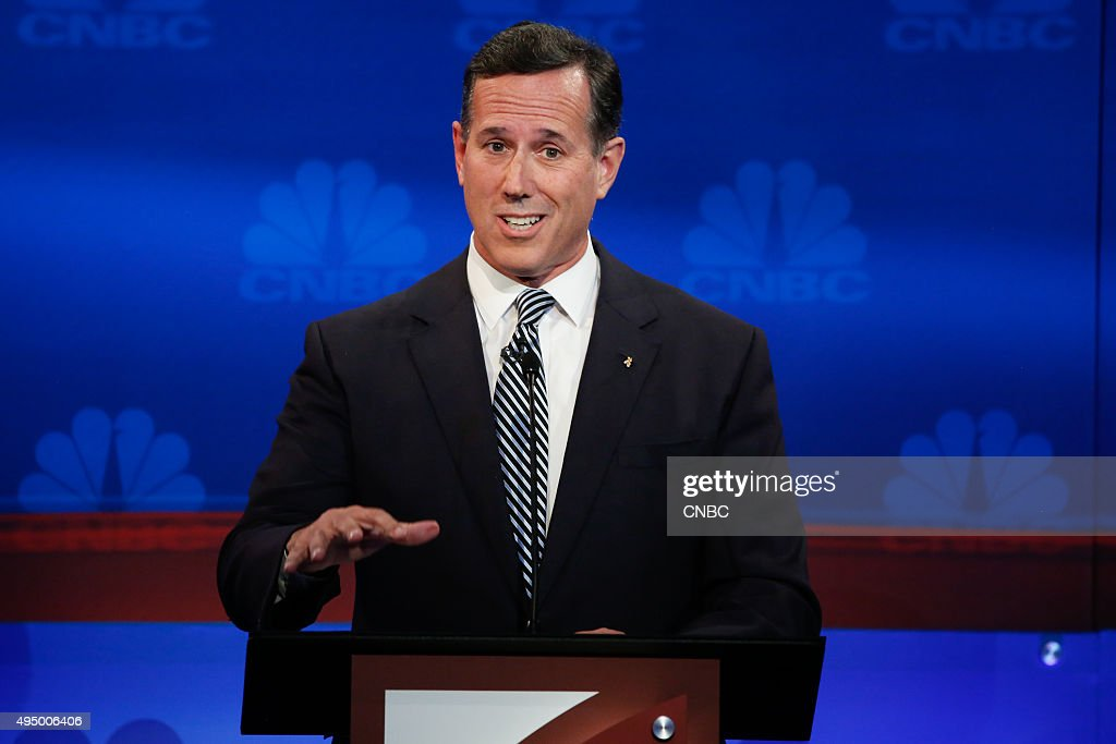 EVENTS -- The Republican Presidential Debate: Your Money, Your Vote -- Pictured: RIck Santorum participates in CNBC's 'Your Money, Your Vote: The Republican Presidential Debate' live from the University of Colorado Boulder in Boulder, Colorado Wednesday, October 28th at 6PM