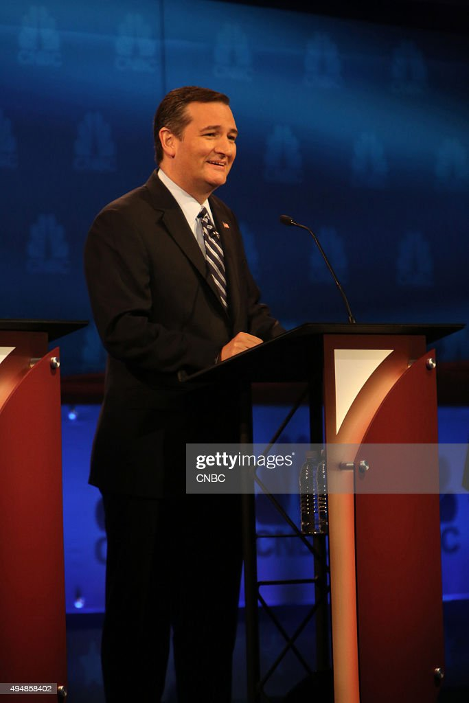 EVENTS -- The Republican Presidential Debate: Your Money, Your Vote -- Pictured: <a gi-track='captionPersonalityLinkClicked' href=/galleries/search?phrase=Ted+Cruz&family=editorial&specificpeople=7222093 ng-click='$event.stopPropagation()'>Ted Cruz</a> participates in CNBC's 'Your Money, Your Vote: The Republican Presidential Debate' live from the University of Colorado Boulder in Boulder, Colorado Wednesday, October 28th at 6PM