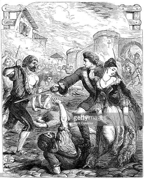 'The Rescue of the Duchess of Popoli' 18th century Print taken from Cassell's Illustrated History of England volume IV published by Cassell Petter...