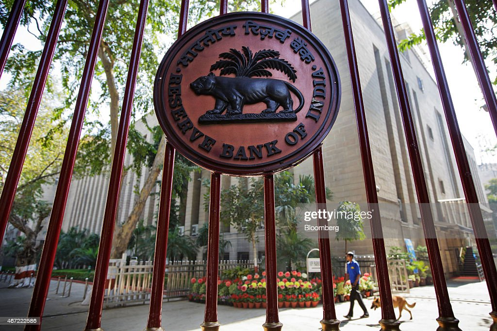 The Reserve Bank of India logo is displayed on a gate at the central bank's headquarters in New Delhi India on Sunday March 22 2015 Jaitley said he...