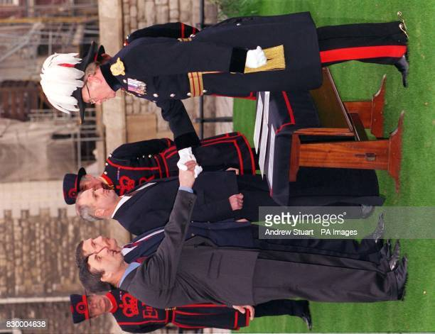 The Resident Governor of the Tower of London Major General Geoffrey Field officially welcomes Alan Kingshott Christopher Morton and Nicholas Thompson...