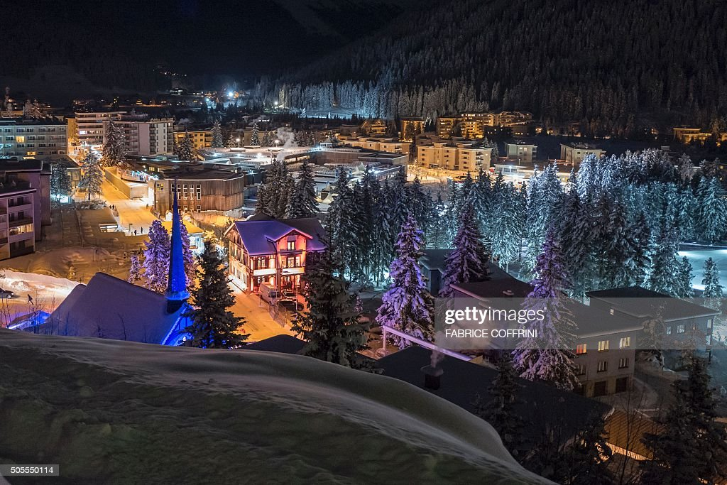 The resort of Davos is seen by night prior to the World Economic Forum annual meeting on January 18 2016 in Davos More than 40 heads of state and...