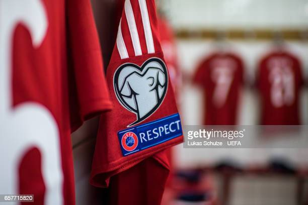 The respect emblem is seen on a jersey of Luxembourg prior to the FIFA 2018 World Cup Qualifier between Luxembourg and France at Stade Josy Barthel...