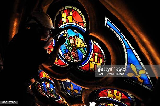 the restoration of the stained glasses of the Sainte Chapelle in Paris after 7 years of work on February 18 2015 photo by Hubert Fanthomme/ Paris...