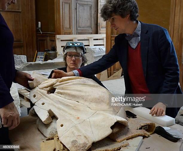 The restoration of the statue La Victoire de Samothrace at the Louvres Museum on April 22 2014 in Paris France