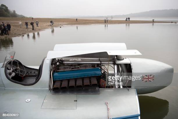 The restored Blue Bird K3 hydroplane powerboat is moored ahead of a test run at Bewl Water on September 26 2017 near Maidstone England The Bluebird...